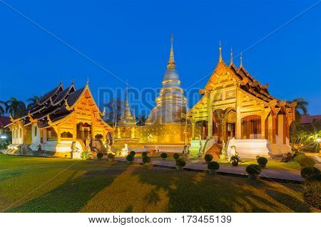 Wat Phra Singh in Chiang Mai is located in the western part of the old city center of Chiang Mai ThailandWat Phra Singh is a emerald temple in Chiang Mai
