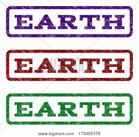 Earth watermark stamp. Text tag inside rounded rectangle with grunge design style. Vector variants are indigo blue red green ink colors. Rubber seal stamp with dust texture.