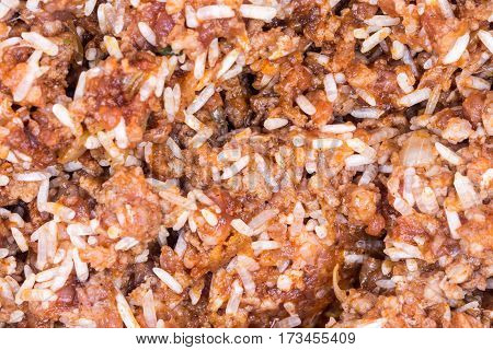 Macro Closeup Minced Meat With Rice