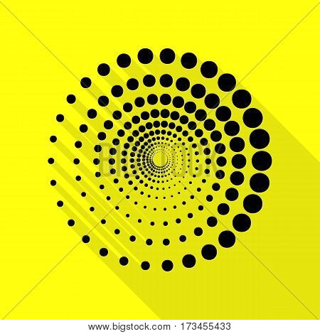 Abstract technology circles sign. Black icon with flat style shadow path on yellow background.