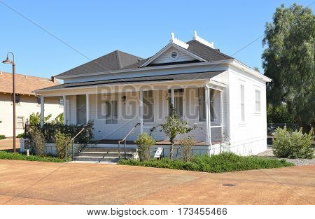 IRVINE, CALIFORNIA - FEBRUARY 24, 2017: Early Office Irvine Ranch Historic Park. The building served as the ranches Agricultural Headquarters and later as an agriculture lab.
