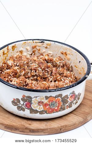 Grandmothers Kitchen Preparing Minced Meat With Rice