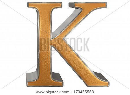 Uppercase Letter K, Isolated On White, 3D Illustration