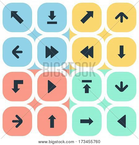 Set Of 16 Simple Arrows Icons. Can Be Found Such Elements As Downwards Pointing, Left Landmark , Rearward.