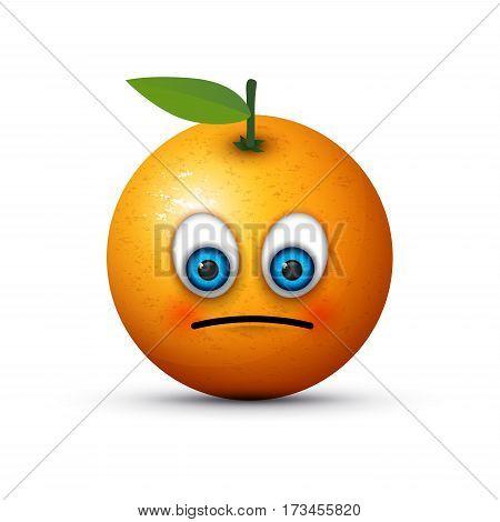 an abstract orange looking rather sad emoji