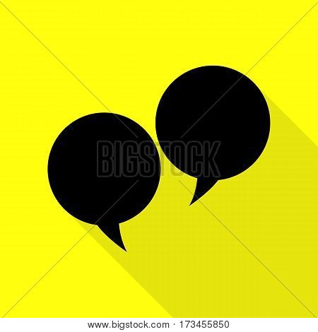Speech bubble sign. Black icon with flat style shadow path on yellow background.