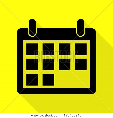Calendar sign illustration. Black icon with flat style shadow path on yellow background.