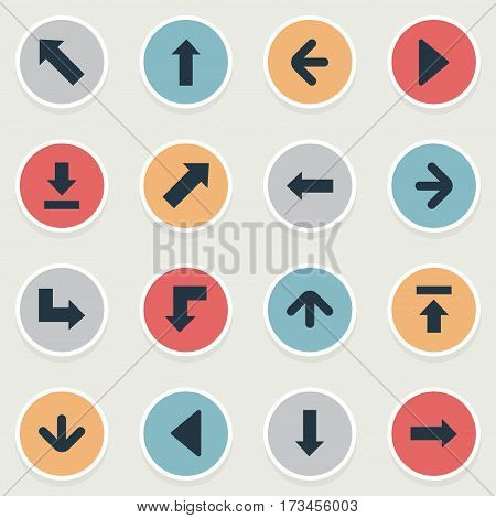 Set Of 16 Simple Cursor Icons. Can Be Found Such Elements As Let Down, Left Direction, Right Direction And Other.