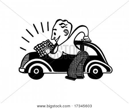 Man Polishing Car - Retro Clip Art