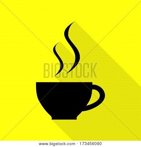 Cup of coffee sign. Black icon with flat style shadow path on yellow background.