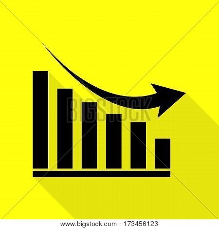 Declining graph sign. Black icon with flat style shadow path on yellow background.