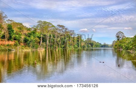 Moat surrounding the Angkor Thom temples in Siem Reap, Cambodia