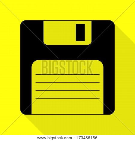 Floppy disk sign. Black icon with flat style shadow path on yellow background.
