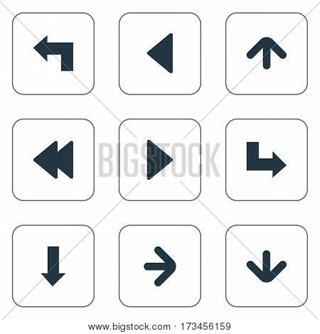 Set Of 9 Simple Indicator Icons. Can Be Found Such Elements As Downwards Pointing, Pointer, Right Direction And Other.