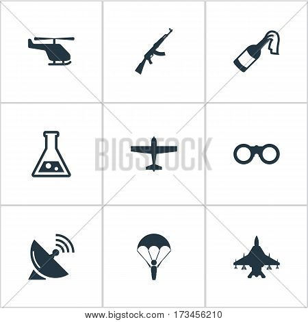 Set Of 9 Simple Military Icons. Can Be Found Such Elements As Sky Force, Air Bomber, Helicopter And Other.