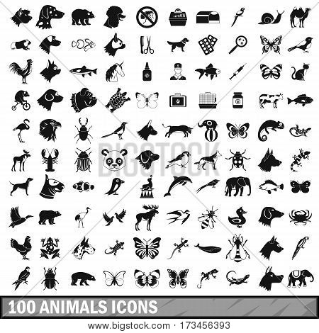 100 animals icons set in simple style for any design vector illustration