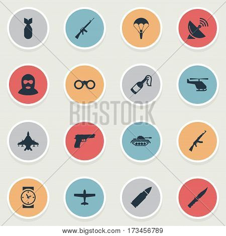 Set Of 16 Simple Army Icons. Can Be Found Such Elements As Signal Receiver, Ammunition, Heavy Weapon And Other.