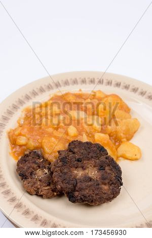 Flat Lay Minced Meat Meatballs With Potatoes