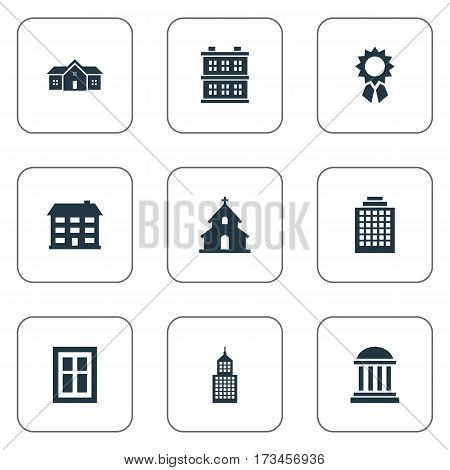 Set Of 9 Simple Structure Icons. Can Be Found Such Elements As Block, Residence, Offices And Other.