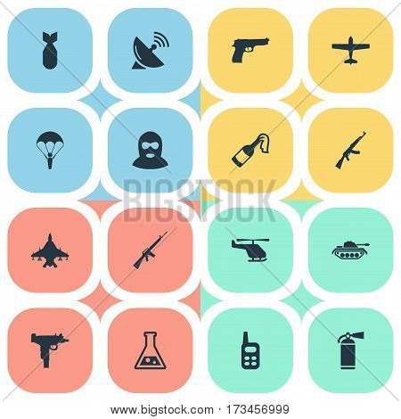 Set Of 16 Simple War Icons. Can Be Found Such Elements As Pistol, Molotov, Firearm And Other.