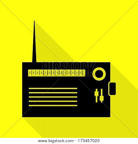 Radio sign illustration. Black icon with flat style shadow path on yellow background.