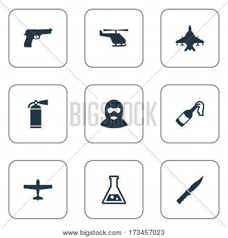 Set Of 9 Simple Terror Icons. Can Be Found Such Elements As Cold Weapon, Molotov, Pistol And Other.