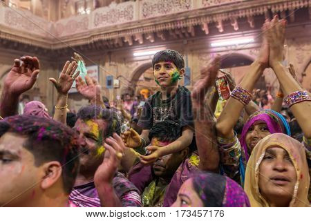 Vrindavan, India. March 20, 2016. Holi celebration in the Hindu Banke Bihare temple in Vrindavan, Uttar Pradesh, India.