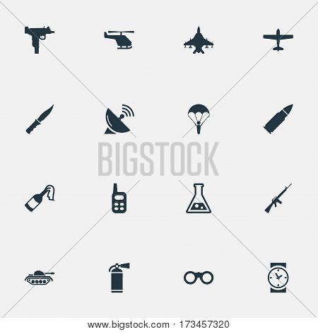 Set Of 16 Simple Military Icons. Can Be Found Such Elements As Extinguisher, Firearm, Sky Force And Other.
