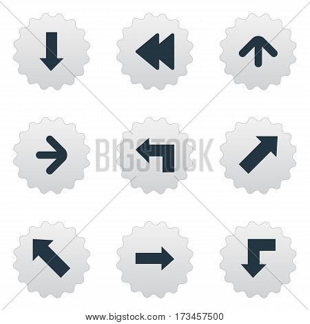 Set Of 9 Simple Indicator Icons. Can Be Found Such Elements As Downwards Pointing, Indicator, Right Direction And Other.
