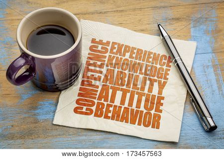 competence concept  - word abstract on a napkin with a cup of espresso coffee