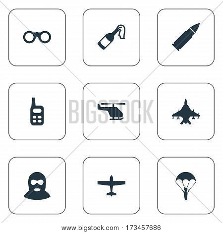 Set Of 9 Simple Army Icons. Can Be Found Such Elements As Field Glasses, Helicopter, Terrorist And Other.
