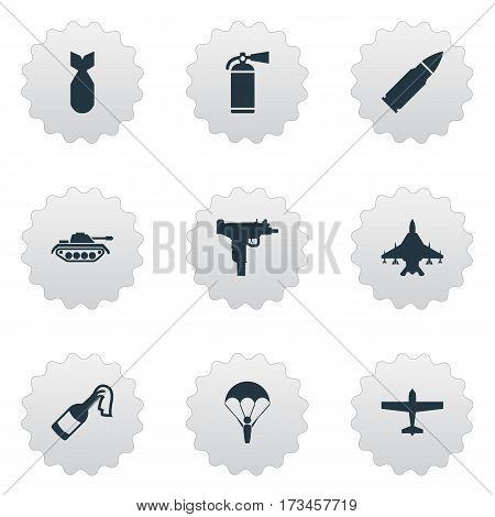 Set Of 9 Simple Army Icons. Can Be Found Such Elements As Nuke, Sky Force, Heavy Weapon And Other.
