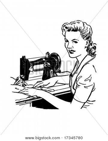 Woman Sewing - Retro Clip Art