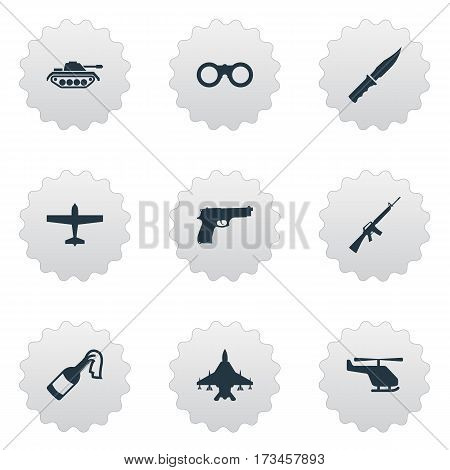 Set Of 9 Simple Army Icons. Can Be Found Such Elements As Rifle Gun, Field Glasses, Pistol And Other.