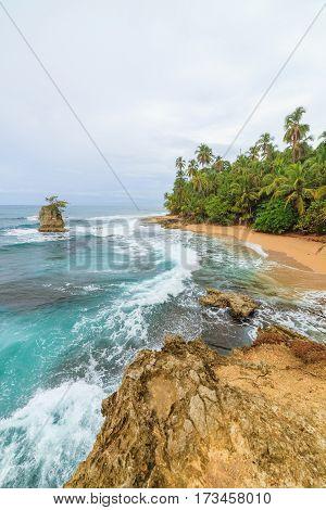 Idyllic tropical beach at Manzanillo Costa Rica