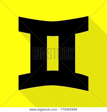 Gemini sign. Black icon with flat style shadow path on yellow background.