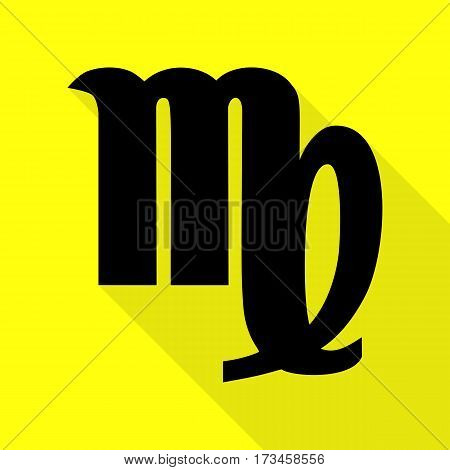 Virgo sign illustration. Black icon with flat style shadow path on yellow background.