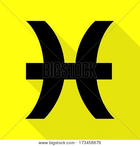 Pisces sign illustration. Black icon with flat style shadow path on yellow background.