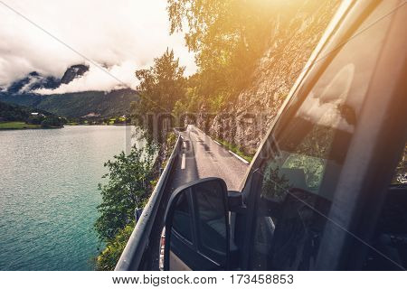 Driving Motohome Through Narrow Norwegian Road. Rving in the Norway.