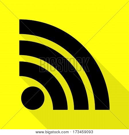 RSS sign illustration. Black icon with flat style shadow path on yellow background.