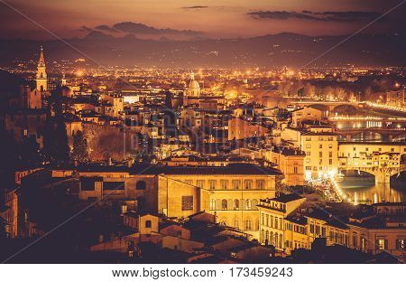 Florence After Sunset. Dusk in Florence Italy. Beautiful Golden Illuminations of the Cityscape.