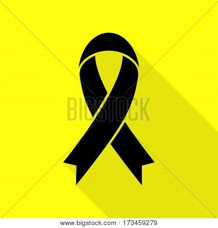 Black awareness ribbon sign. Black icon with flat style shadow path on yellow background.