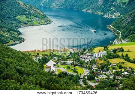 Geiranger Summer Time Panorama Norway. Geiranger is a Small Tourist Village in Sunnmore Region of More og Romsdal County in the Norway.