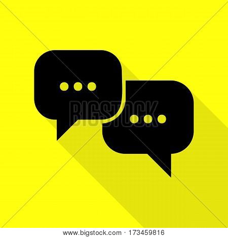 Speech bubbles sign. Black icon with flat style shadow path on yellow background.