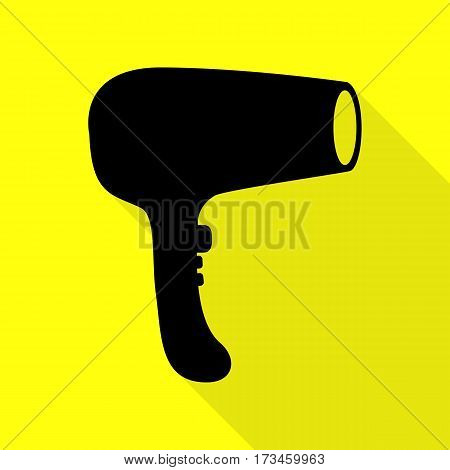 Hair Dryer sign. Black icon with flat style shadow path on yellow background.