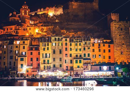 Night Time in the Porto Venere Village in Liguria Region of Italy. Colors of Italian Riviera.