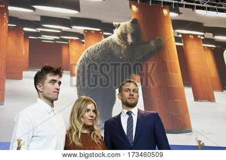Robert Pattinson, Sienna Miller, Charlie Hunnam attend the 'The Lost City of Z' press conference during the 67th Film Festival Berlin at Grand Hyatt Hotel on February 14, 2017 in Berlin, Germany.