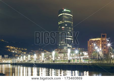 The Iberdrola Tower At Night.