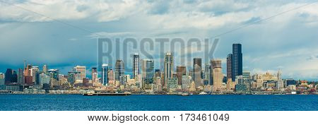 Seattle Skyline Panorama. Downtown Seattle Washington United States of America. Panoramic Photo.