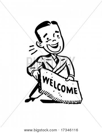 Man With Welcome Mat - Retro Clip Art